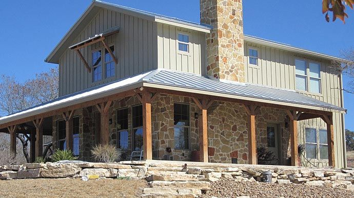Lovely metal ranch home w wrap around porch in texas hq for Metal building farmhouse plans
