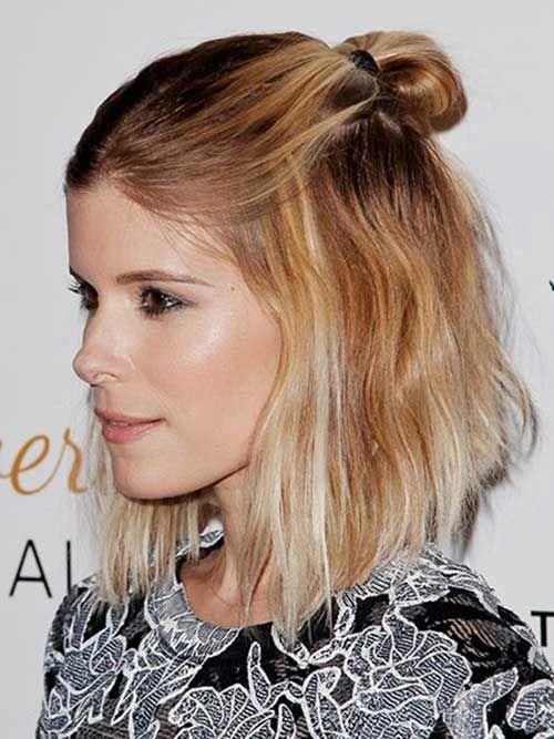 Short Hair Half Bun | Hairstyles | Pinterest | Half bun, Short ...