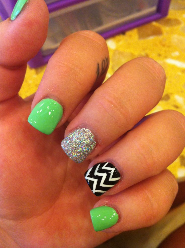 Two of my favorite things - lime green and chevron! - Two Of My Favorite Things - Lime Green And Chevron! Nail Art