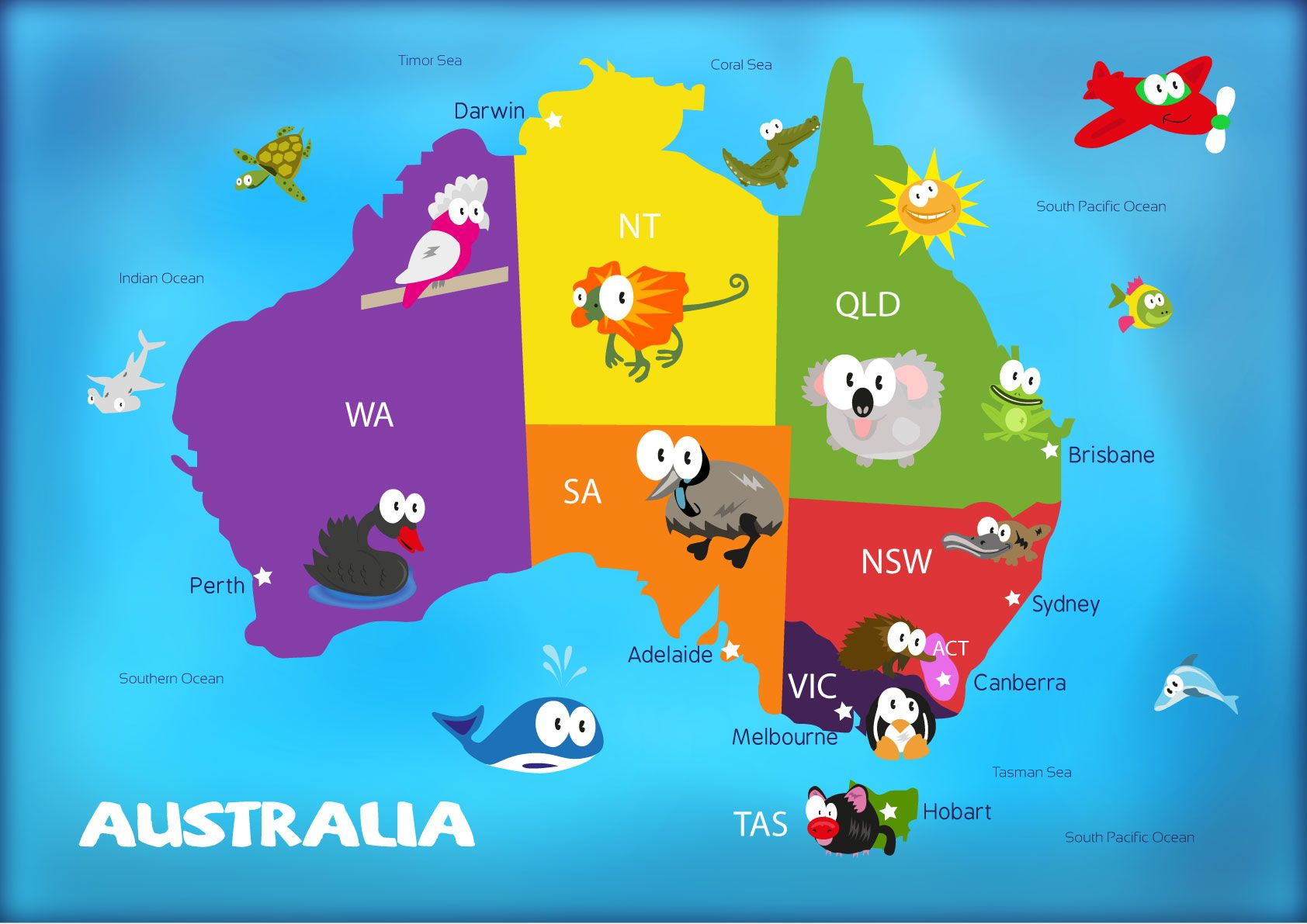 Kids Map Of Australia