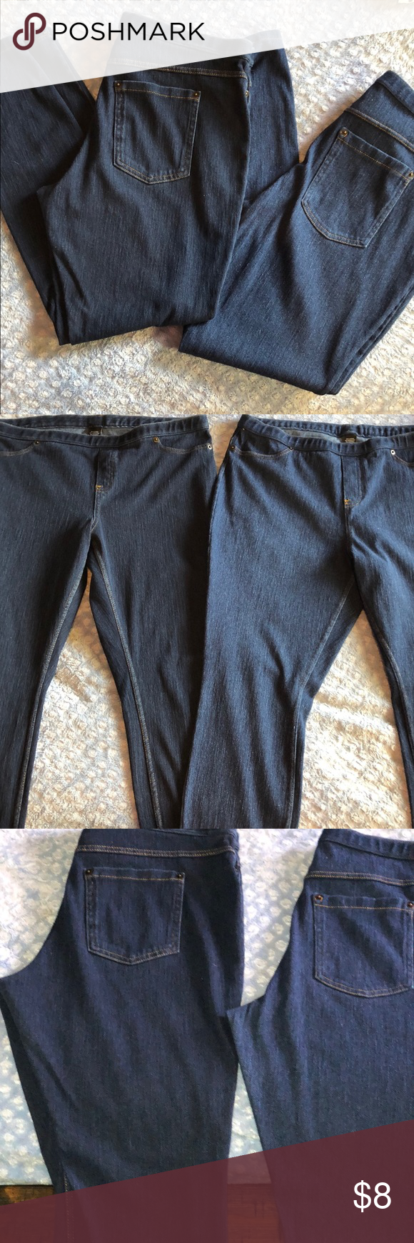 Denim stretch skinny jeans Two pair of identical skinny jeans, or jeggings. One pair are dark denim, one pair medium denim. Well kept, just can't fit them anymore! Jeans Skinny