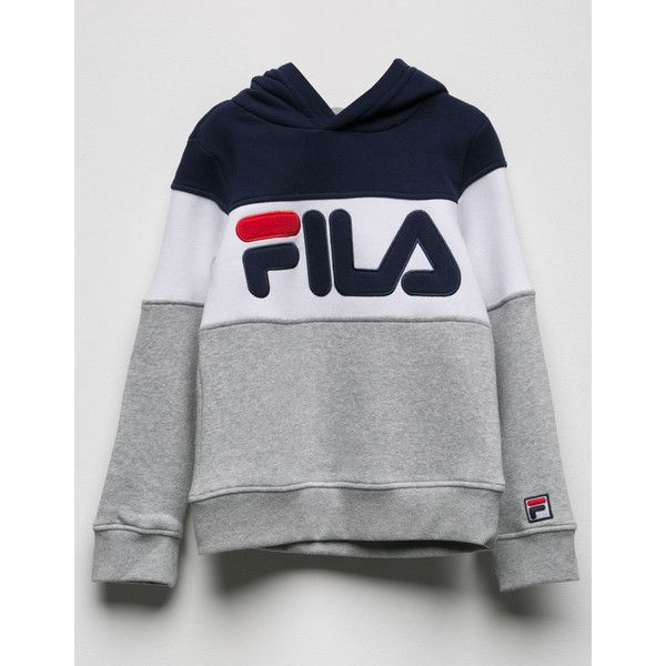 Fila Colorblock Girls Hoodie (215 RON) ❤ liked on Polyvore featuring tops,  hoodies