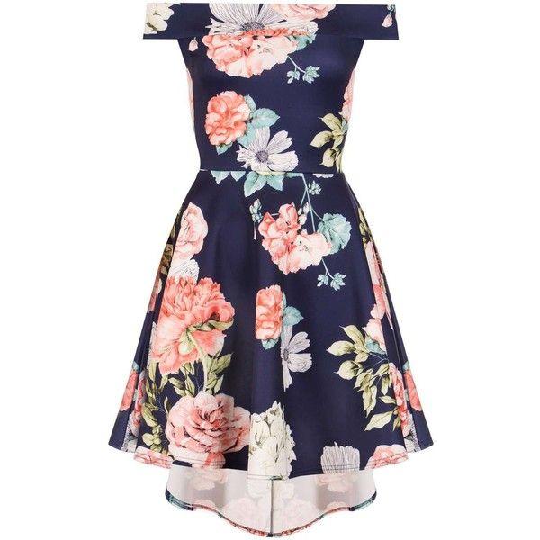 Dorothy Perkins **Quiz Navy Flower Bardot Dress ($55) ❤ liked on Polyvore