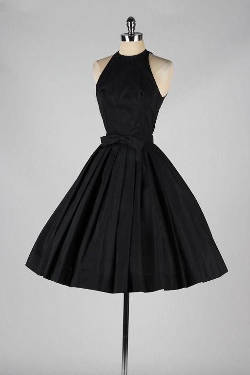 Vintage 1950\'s Suzy Perette Black Halter Dress | Feminine fashion ...