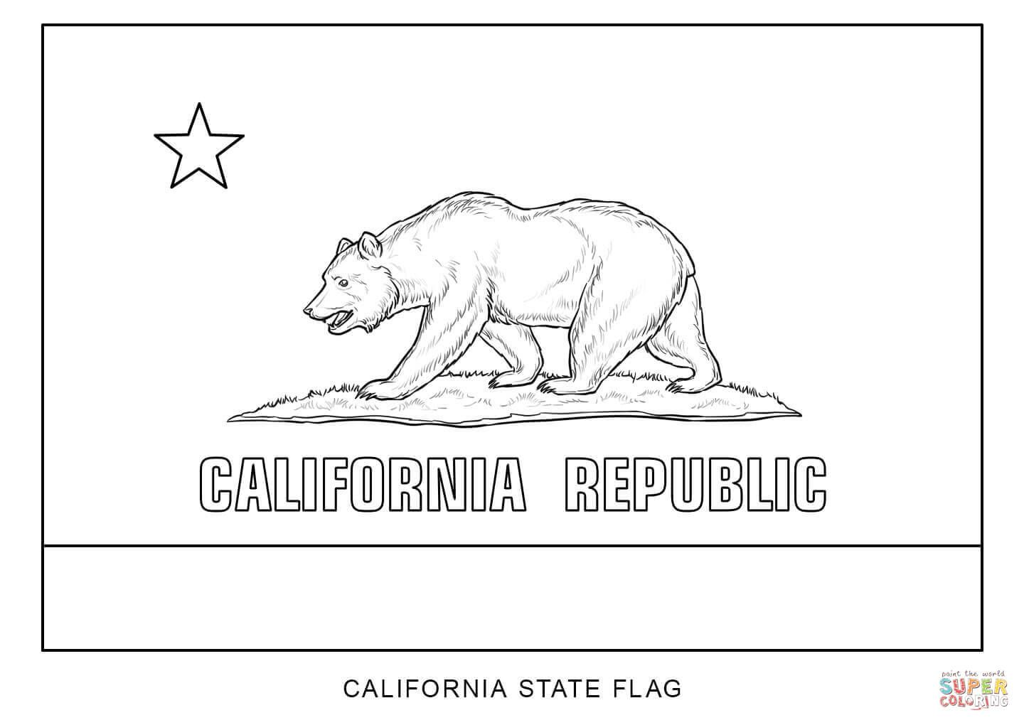 Flag Of California Coloring Page