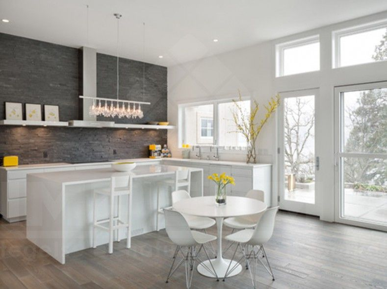 Steenstrips in natuursteen steenstrips natuursteen voor binnen of buiten in moderne keuken - Binnen deco ...