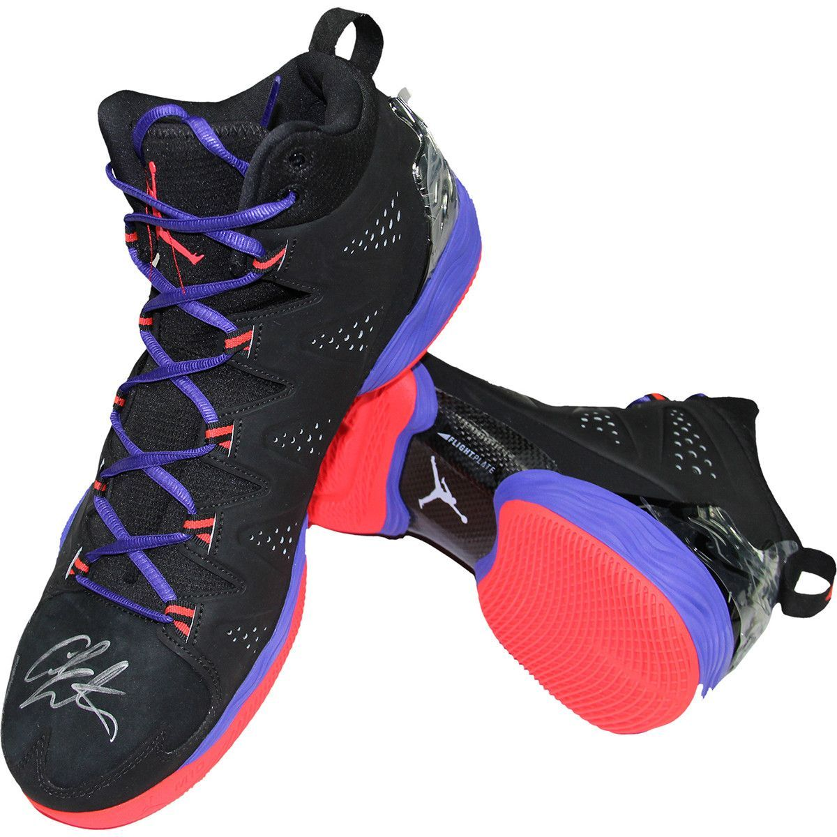... Carmelo Anthony Signed Right Shoe JORDAN MELO M10 Black/Red/ Dark  Concord Sneaker Pair ...