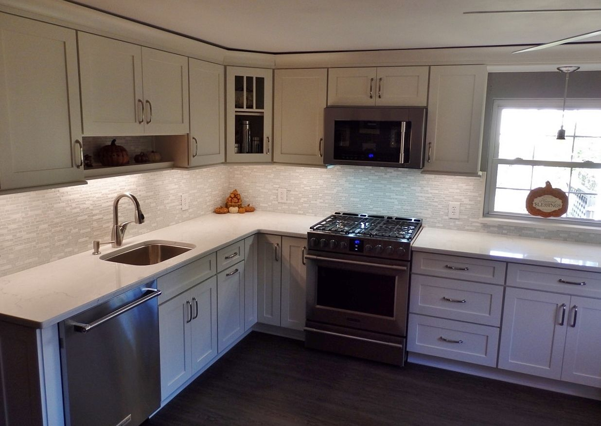 White kitchen with pental quartz misterio engineered for Engineered quartz countertops