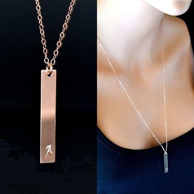 Long Bar Necklace 14k Gold or Rose Gold Bar Necklace Vertical Bar