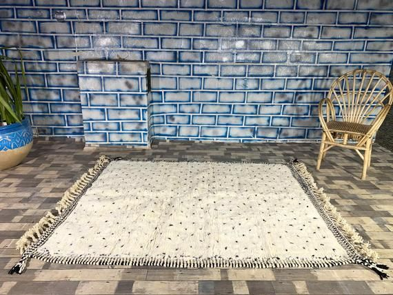 Beni Ourain Moroccan Rug Soft Wool Beni Carpet Handwoven by Berber Women from Morocco Area R