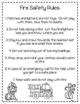 Fire Safety Rules Coloring Sheet  TIger Safe and Smart Tiger