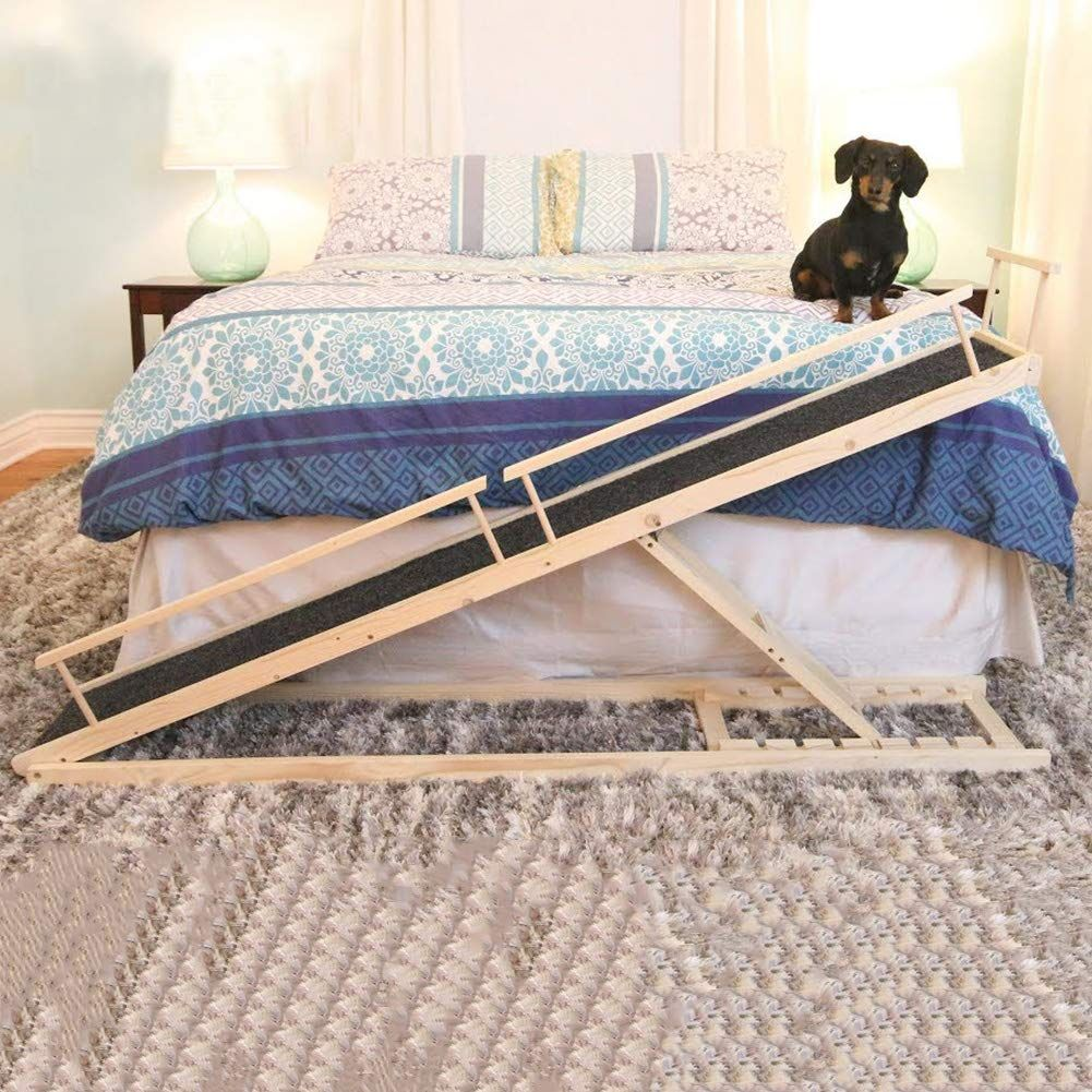 MDBT Dog Bed Ramps for Small Dogs, Wood Pet Ramp for High
