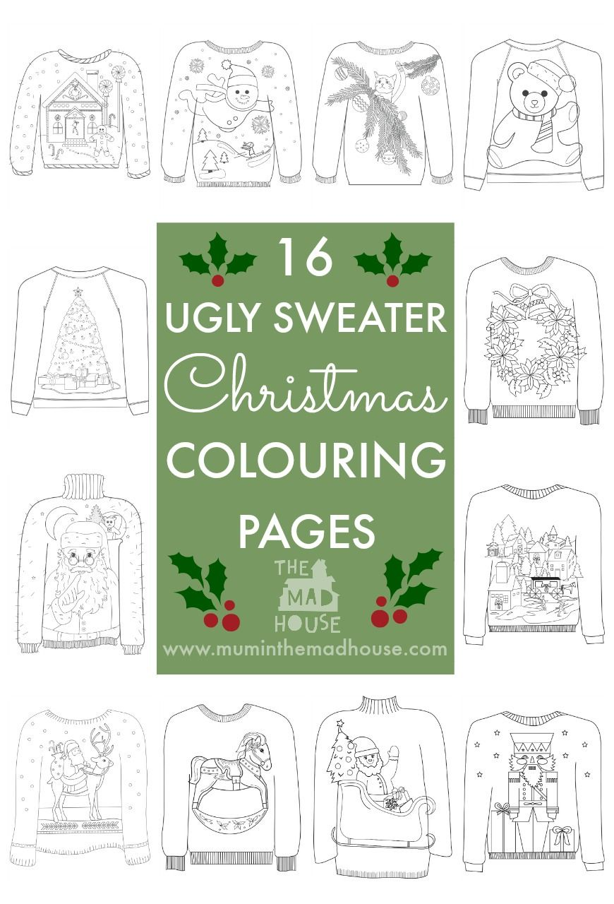 16 Ugly Christmas Sweater Colouring Pages | Ugliest christmas ...