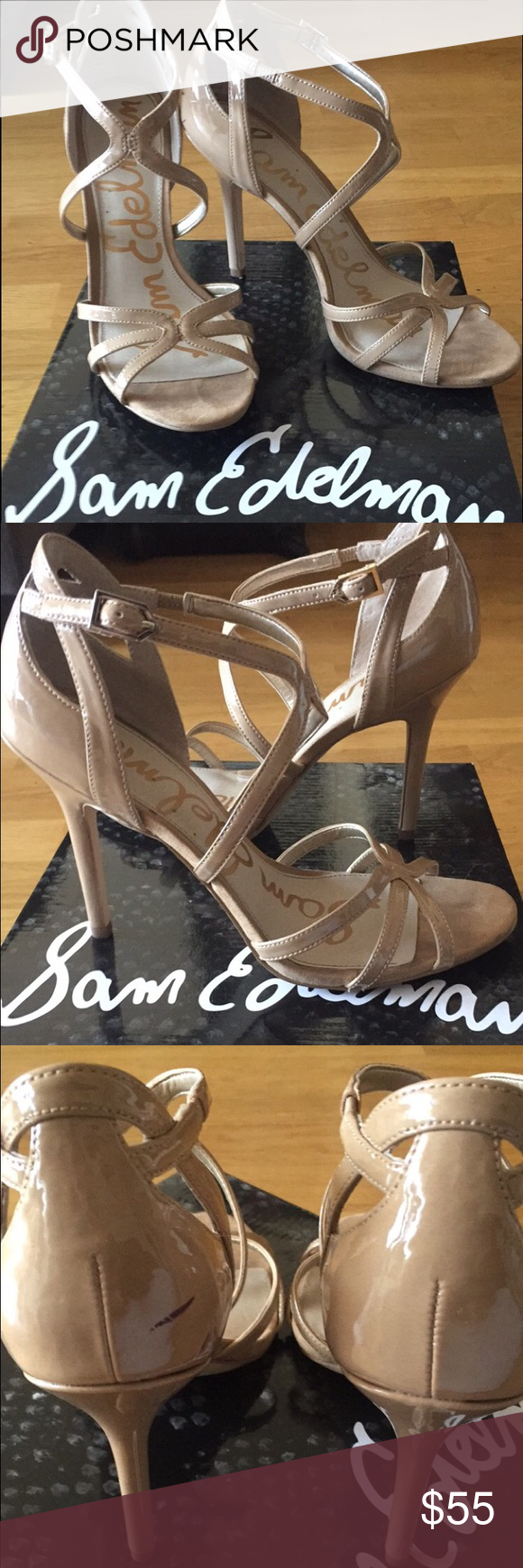 Sam Edelman Nude Sandals Only worn once! Perfect condition except one little scuff mark shown in pictures (I think there's a trick out there to remove it). Sam Edelman Shoes Sandals