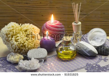 stock photo : aromatherapy and bath accessories