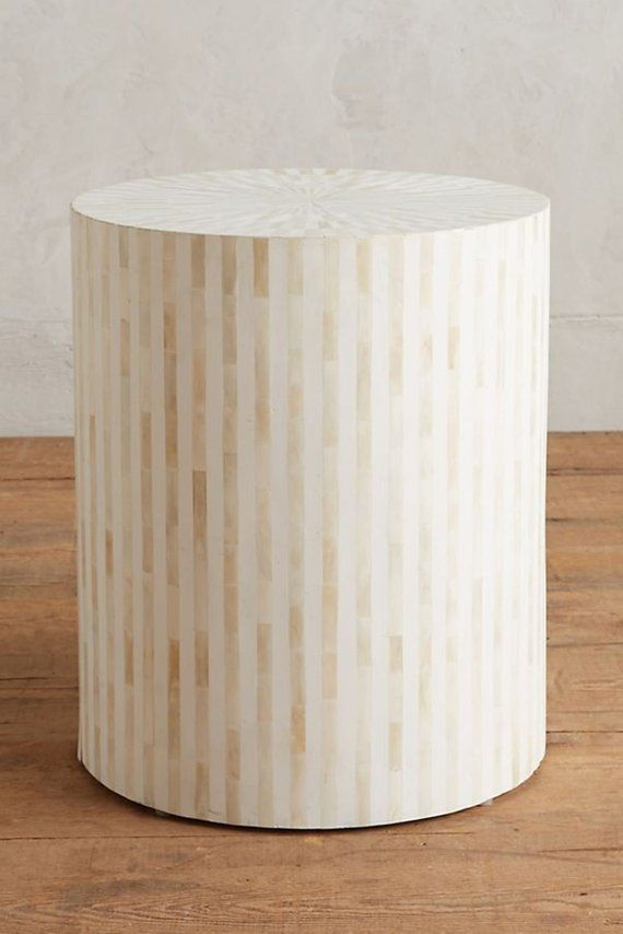 huge selection of 76c9d 2bc17 Bone Inlay Drum Side Table White on White Stripe Design with ...