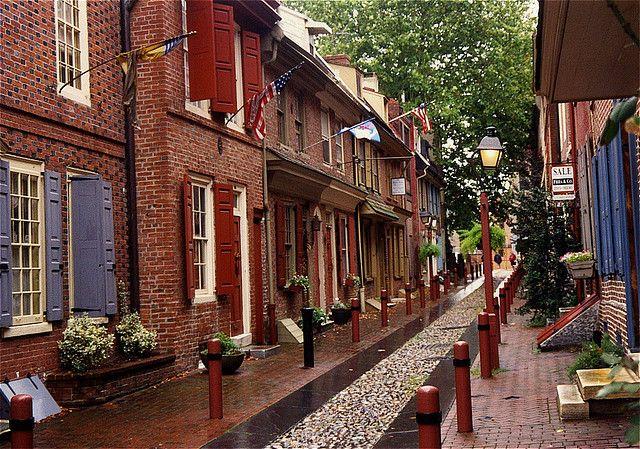 Elfreth's Alley - Philadelphia PA.  Location of Benjamin Franklin's house (torn down in the 1800s).
