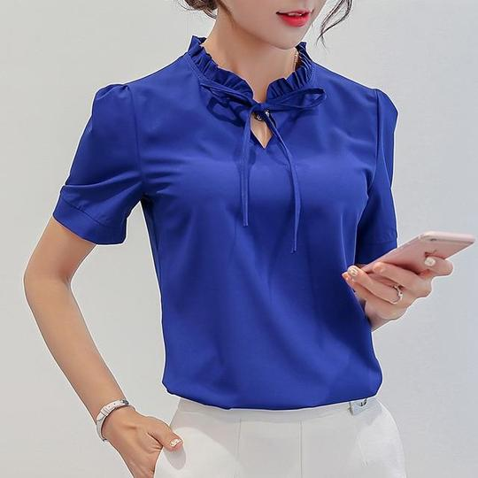 3XL Blue White Pink Blouse New Summer Female Tops Plus Size Shirts Casual Top Fashion Slim Short Sleeve Chiffon Shirt Blusas #chiffonshorts
