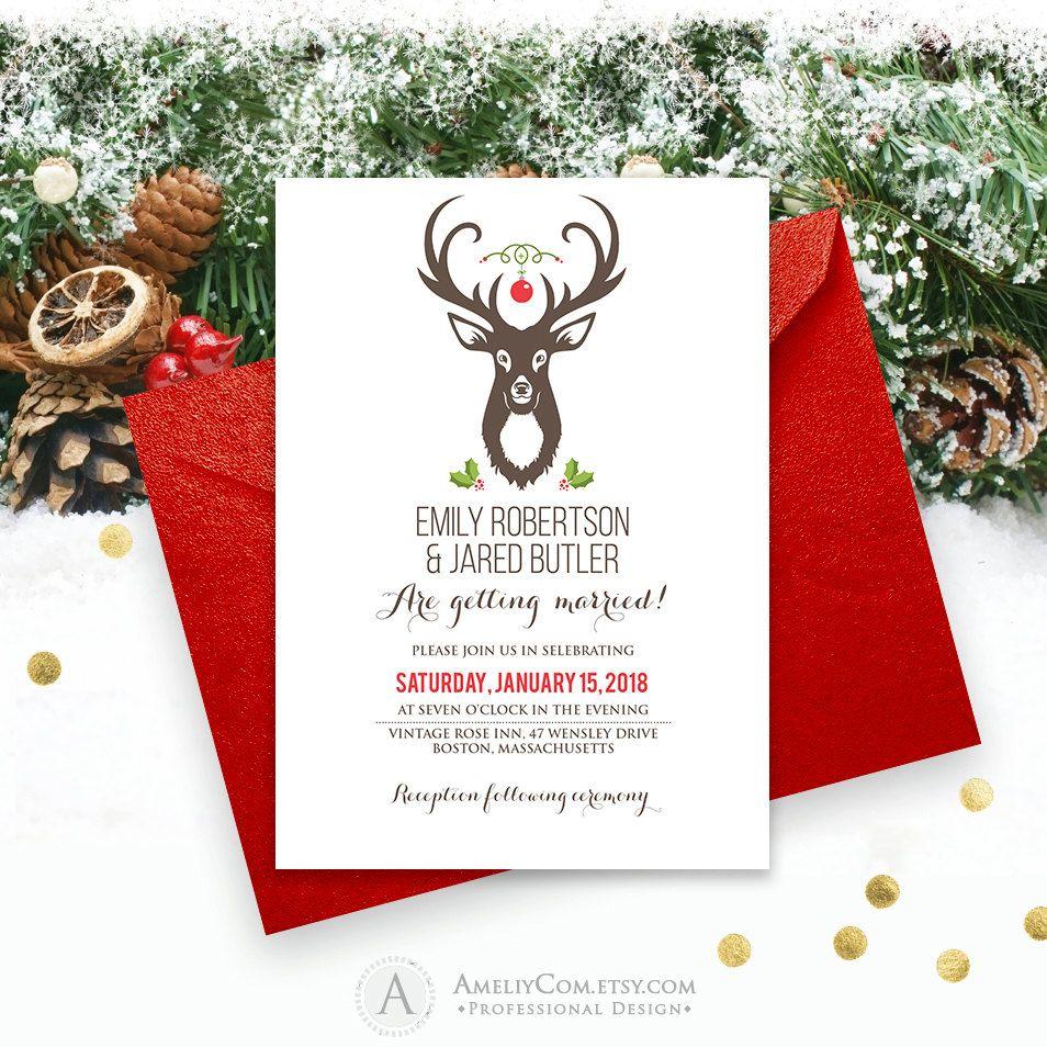 Deer Wedding Invitation Printable - Rustic Winter Wedding Template ...