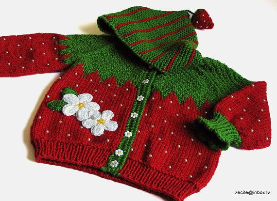 Baby Jacke Strick Rot Erdbeere Strickjacke Für Von Miapiccina