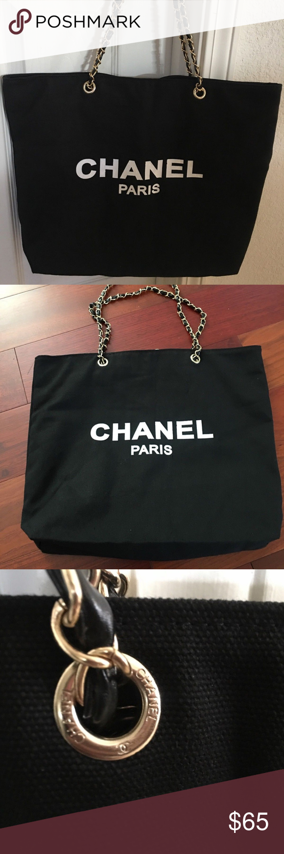 14236559a550 Chanel vip Gift bag canvas tote bag gold chain Authentic Brand new Chanel  VIP Black Canvas