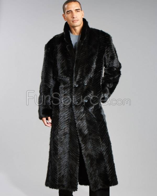 mens fur coats | Black Men's Double-Breasted Chevron Textured Mink ...
