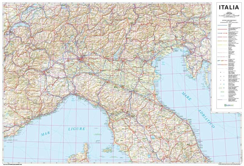 Italia Road Map 1800000 scale Just reprinted Free on Mappe d