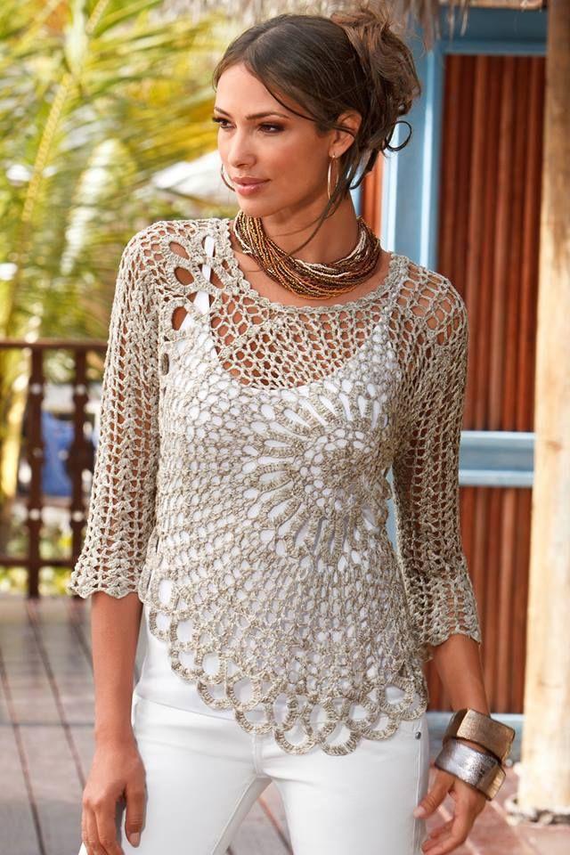 Magnífico patrón de crochet libre para las señoras top - vio esto en ...