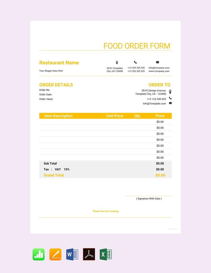 Free Food Order Form Template Order Form Template Free Order Form Template Photography Order Form