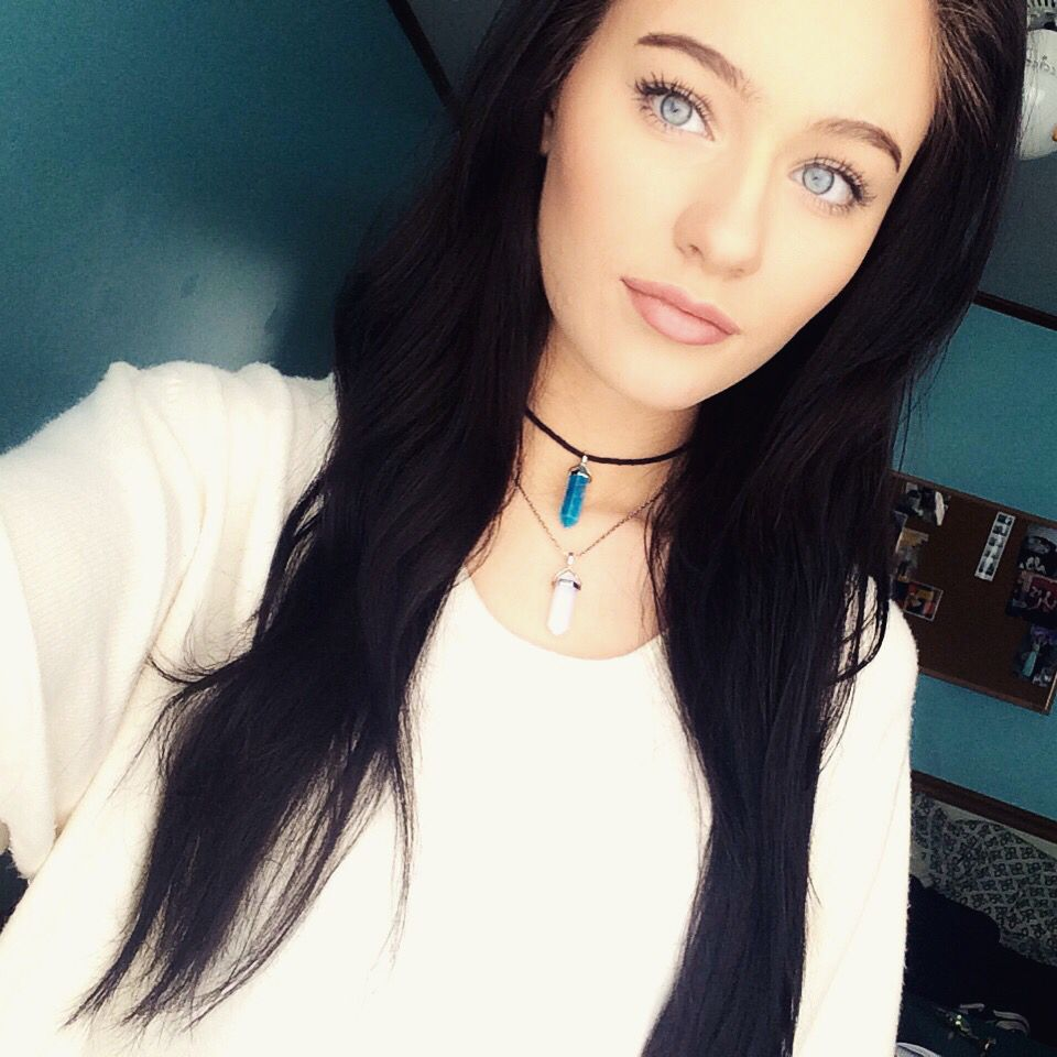 bright blue eyes dark hair