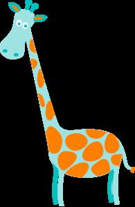 Giraffe Teal With Orange Spots clip art