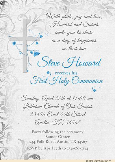 Holy Communion Invitation Elegant Cross Catholic Flowers