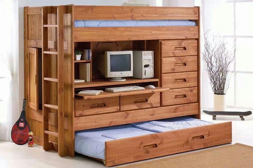 Bunk Bed Desk Dresser Kids Pinterest Bedroom Space Saving