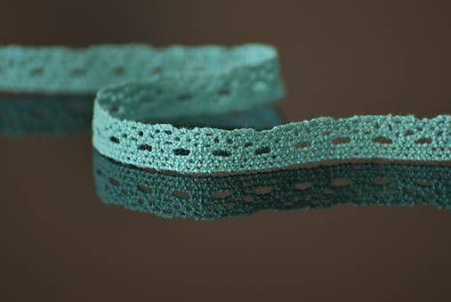 Dekupaz / Bavlnená čipka, 1 cm, tyrkysová