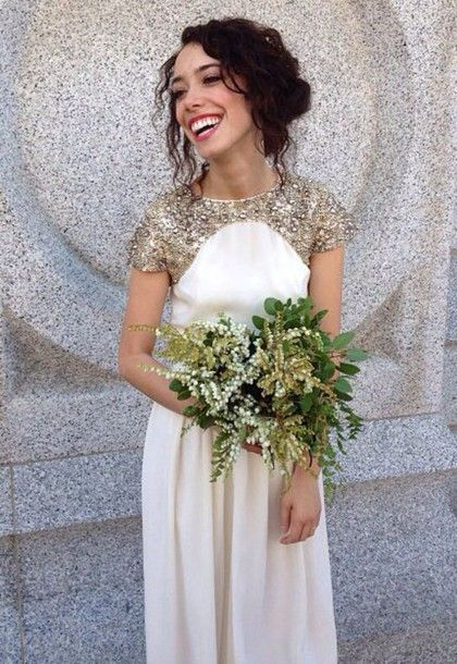 Formal Dress Prom Ivory White Gold Sequins Bridesmaid Grecian Wedding