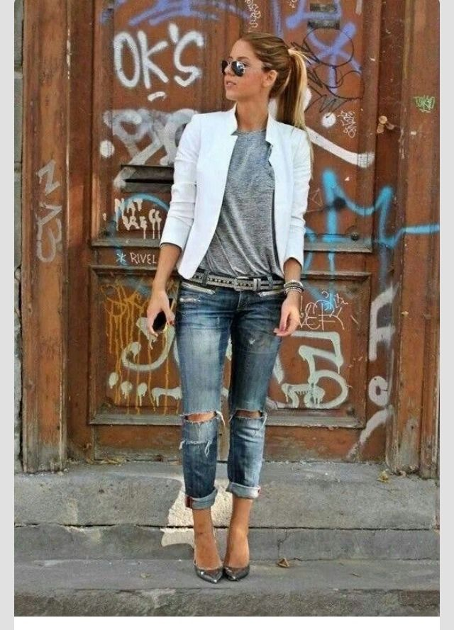 Jeans, T Shirt And A Blazer Outfits    casual And Elegant All In One is part of Rebel fashion - Please don't forget to like and follow  Please check out my other tips as well  Thanks!