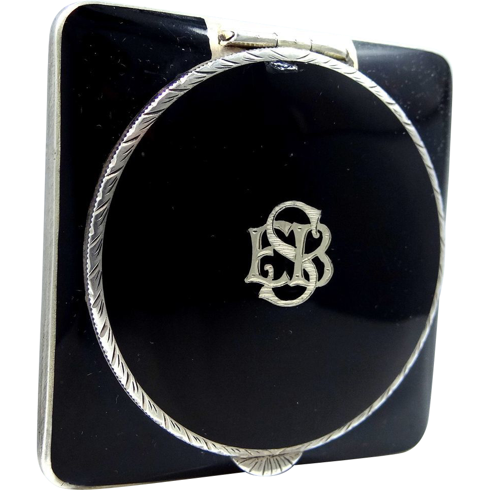 Art Deco Sterling Silver Black Enamel Compact Made in Austria.
