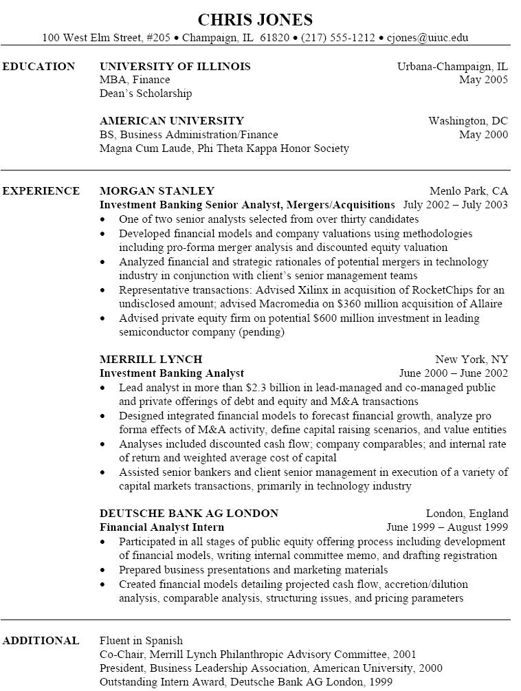 Investment Banking Resume Free Resume Templates Job Resume Samples Marketing Resume Job Resume