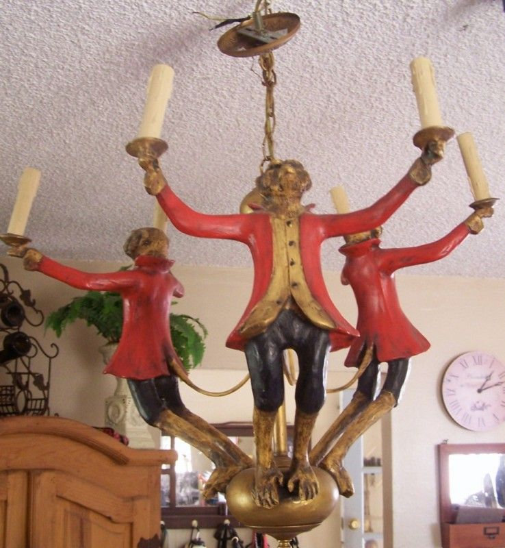 Bill Huebbe 3 Monkey Chandelier Hanging Lamp Whimsical Unique Unusual Ebay Hanging Lamp Chandelier Antique Chandelier