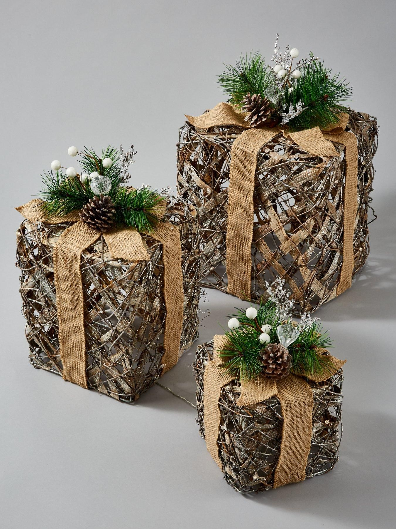 Lit and Frosted Rattan Gift Box Christmas Decorations (Set