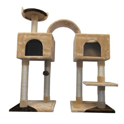 Pawhut Tree Scratching Post Toy Cat Condo Color: Beige/Brown