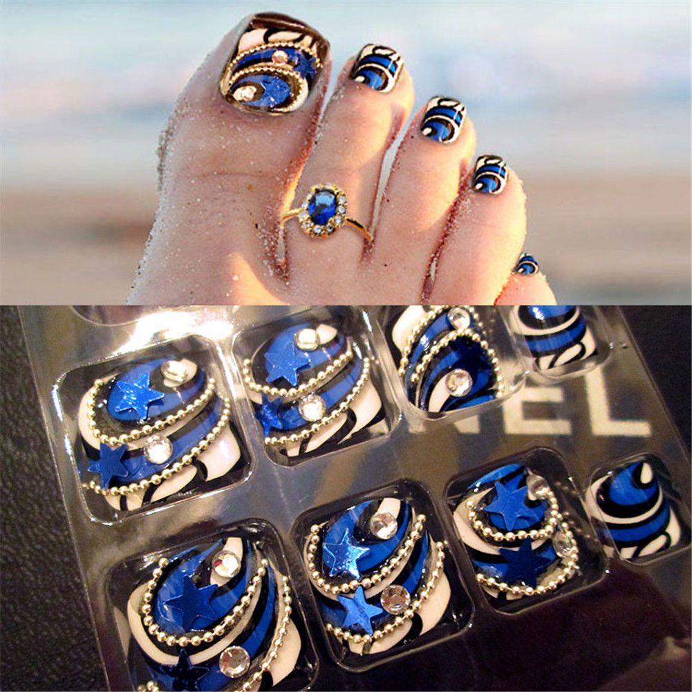24pcs full nail french tips blue stars false toe nails fake art 24pcs full nail french tips blue stars false toe nails fake art cover manicure prinsesfo Image collections