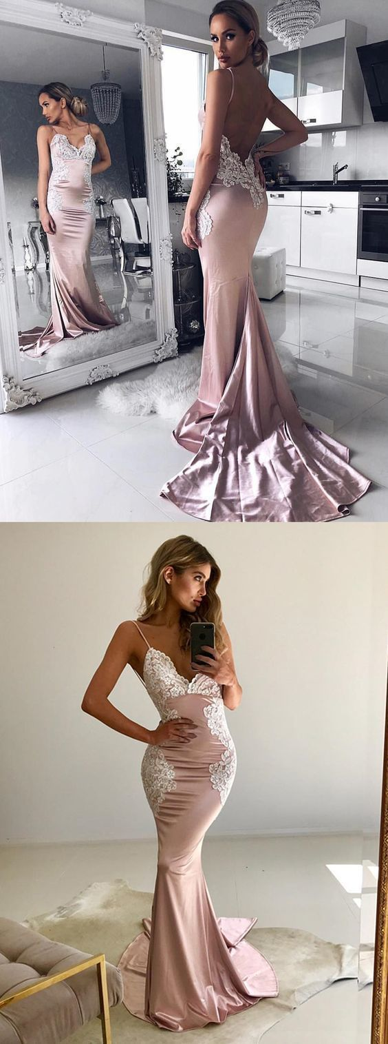 Mermaid spaghetti straps backless sweep train pink prom dress with
