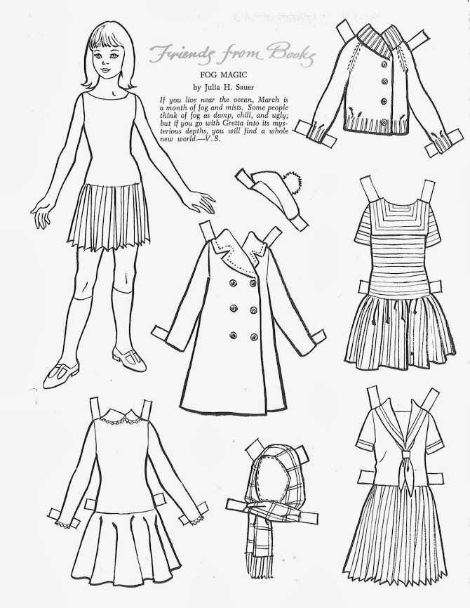 """story book character coloring pages   Children's Friend - Friends from Books 1967 - """"Fog Magic ..."""