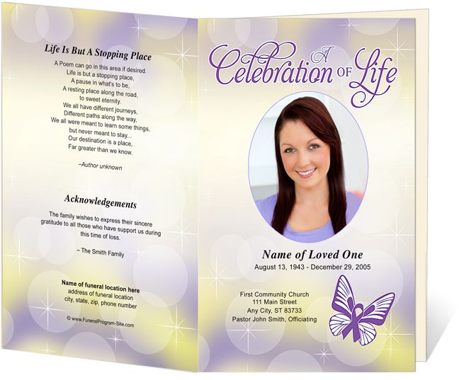 Funeral Memorial Order Of Service Programs Lupus Awareness Themed