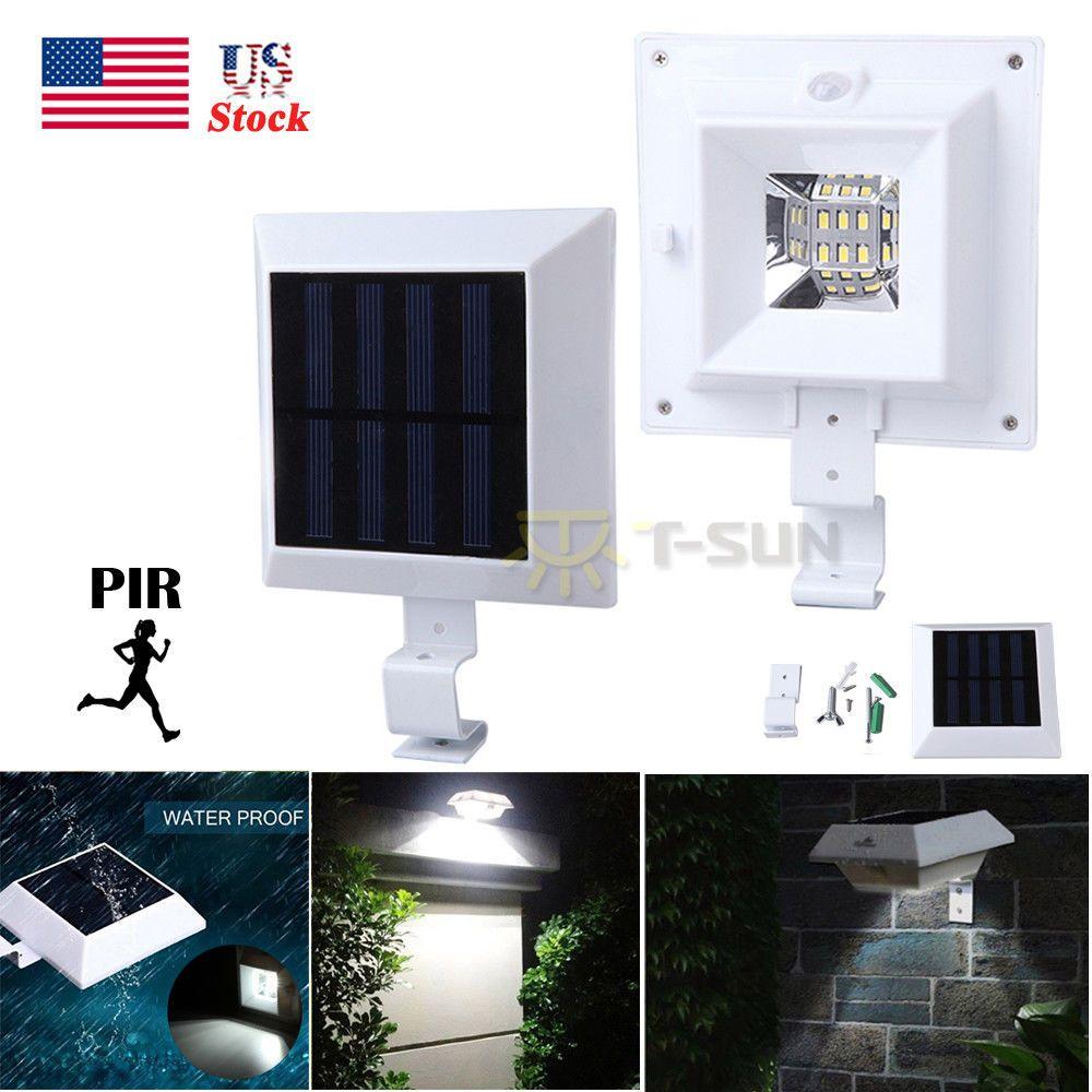 72 LED Solar Power Gutter Security Wall Light Motion Sensor Lamp Outdoor Black