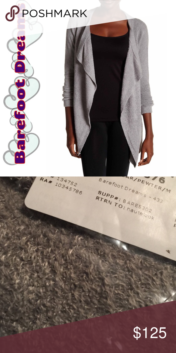 Barefoot Dreams Pewter cardigan So unbelievably soft and comfortable you will never want to take it off. It's like wearing a blanket of love. This is the lite version. The color is pewter. It is a size medium. And brand-new in shipping packaging. Barefoot Dreams Sweaters Cardigans