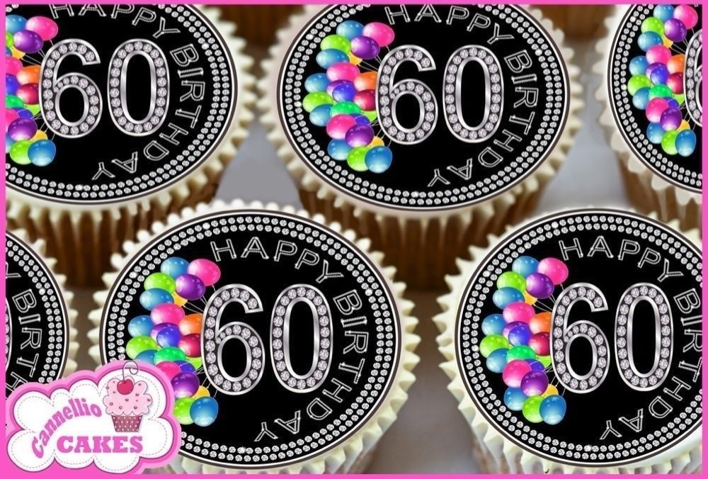 Edible Icing Sheet 24 X 60Th Birthday Cupcake Toppers Cake 9140