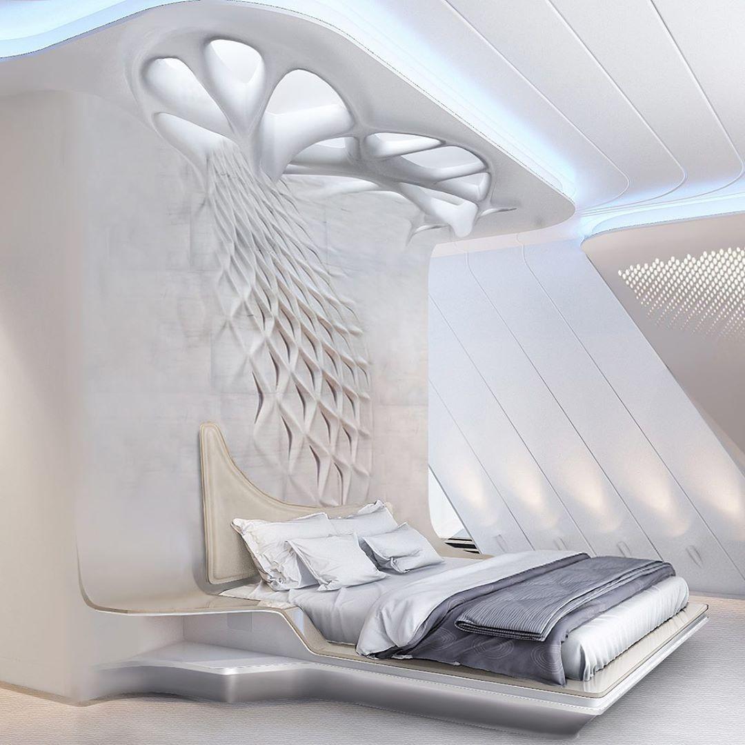 Parametric interior bedroom inspired by Zaha Hadid.  Visualization by Olga Sasik...-#amazing