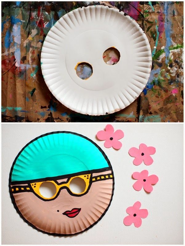 Make a Paper Plate Mask with Kids (Vintage Swimmer) & Summer Paper Plate Crafts | Pinterest | Paper plate masks and Craft